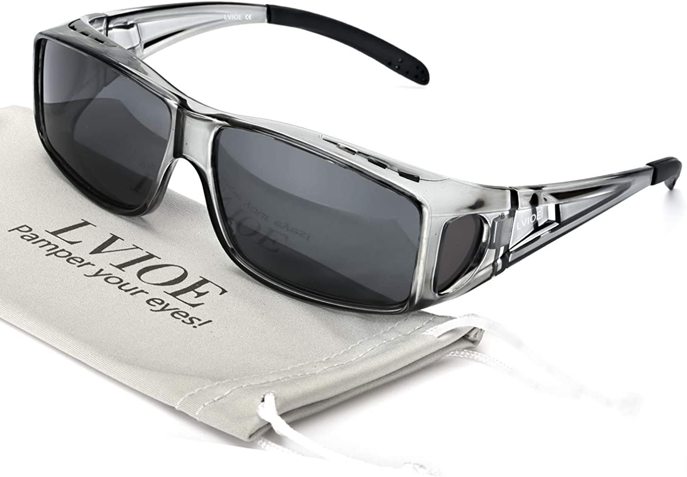 LVIOE Gafas de Sol Sobre Gafas, gafas de sol de Fitover de la prescripción Estilos unisex, Protección 100% UVA UVB Para Colocar Sobre las Gafas Normales y de Lectura
