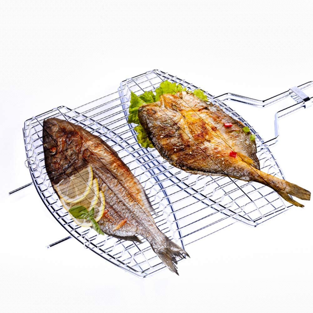 Blusea Portable Stainless Steel BBQ Barbecue Grilling Basket, Double Fish Grilling Basket Non-Stick Barbecue Basket Detachable Heavy Duty BBQ Tools Grill Basket for Meats Vegetables Steak