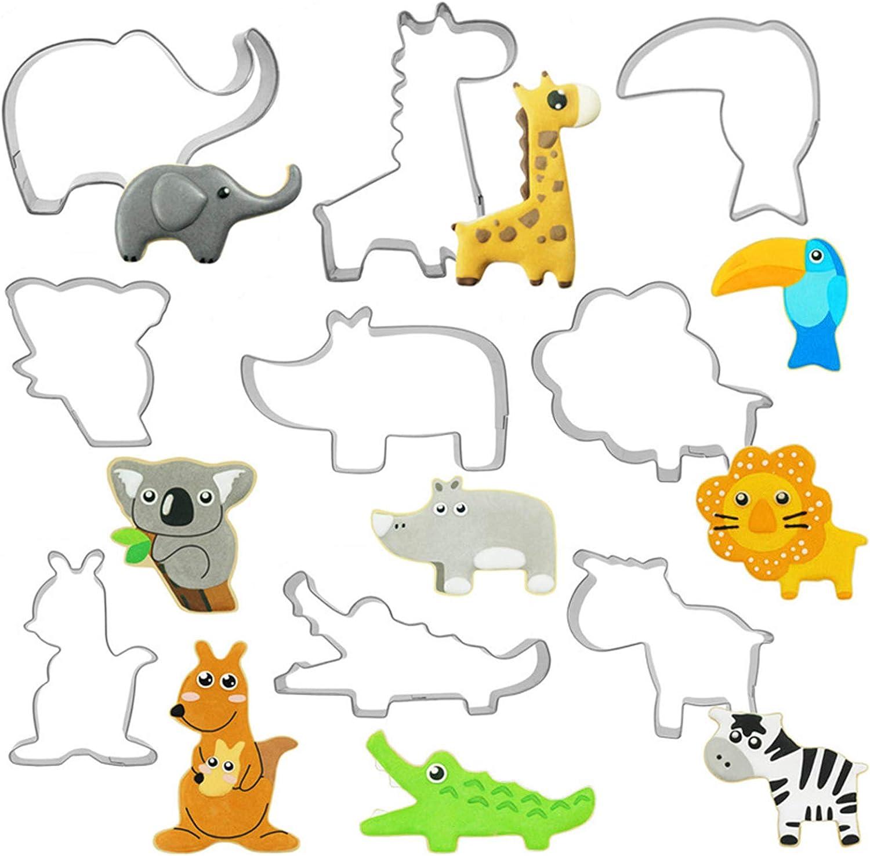 Moldes Galletas Animales Acero Inoxidable Galletas Cortador para Cookie Cutters Moldes para Pastel Cookie Fondant Tematica Cumpleaños Decoracion Moldes para Repostería de Acero Inoxidable 9PCS