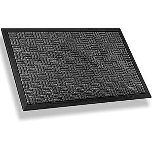 Mibao Entrance Door Mat Large Heavy Duty Front Outdoor Rug Non-Slip Welcome Doormat for Entry, 24 x 36 inch, Grey
