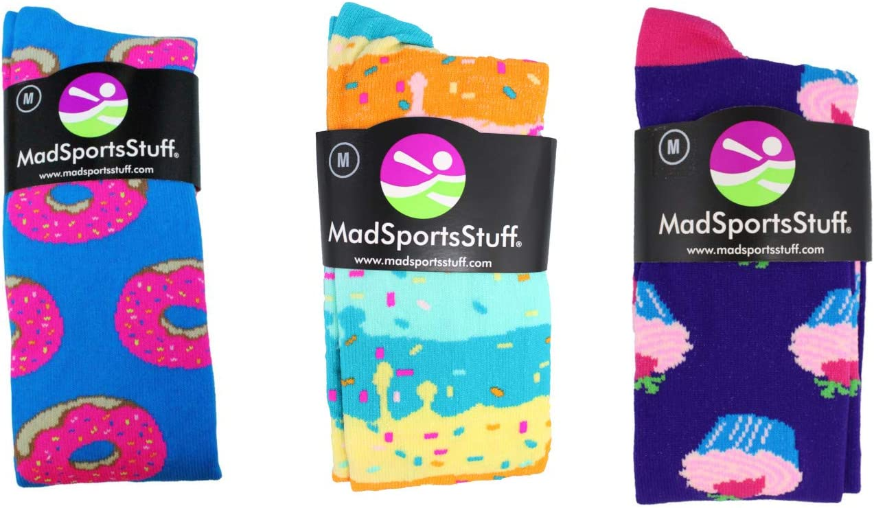 MadSportsStuff Donut Over The Calf Socks (Paradise Blue/Neon Pink, Small) : Clothing