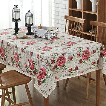 mantel de mesa de comedor decoración de Rosas de algodón Puro Anti ...