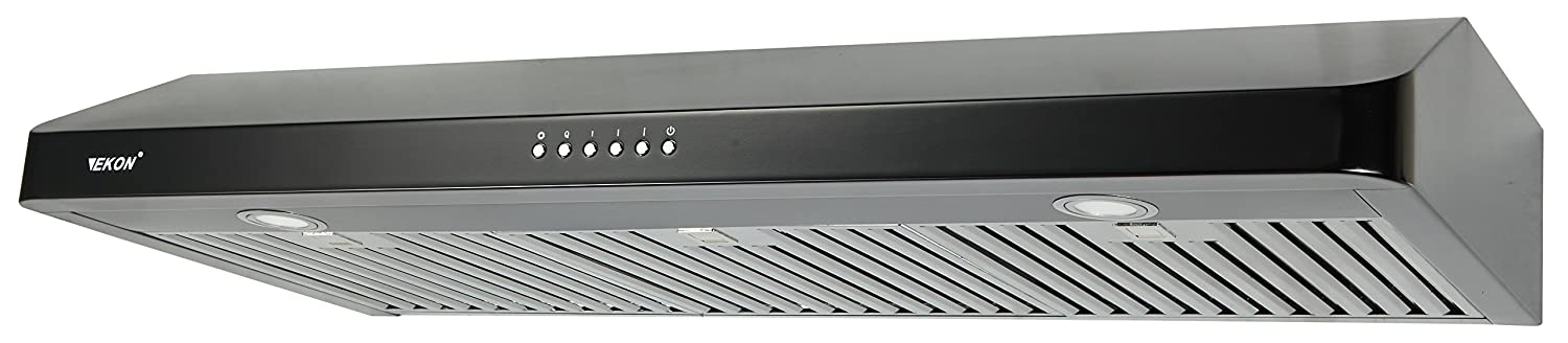 "EKON NAC01-36""-T-B Super Slim Under Cabinet/Wall Mounted Kitchen Range Hood / 4 Speeds Soft Touch Electronic Control Panel / 2 Pcs 3W Led Lamp /600 CFM (BLACK, 36"")"