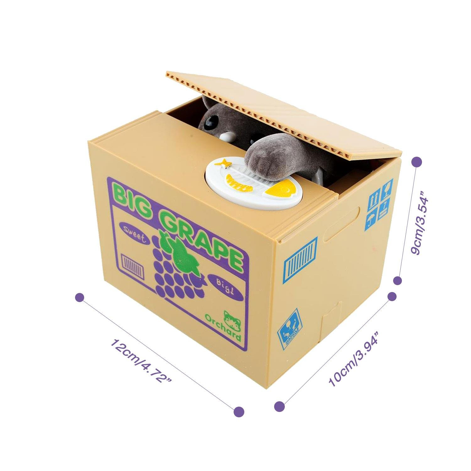 Peradix Automatic Stealing Coins Piggy Bank Money Coin Penny Cents Saving Box Toy Grey Cute Cat Kitty Kitten for Kids Children Present Gift