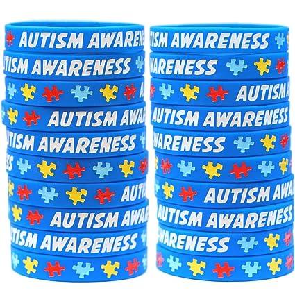 05c7d0422612 20 Autism Awareness Wristbands - Colorful Puzzle Pieces Silicone Bracelets