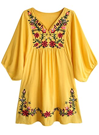 60a4078214d7ed Women's Floral Embroidery Mexican Tunic Top Bohemian Flowy Shift Mini Blouse  Dress (Yellow, ...