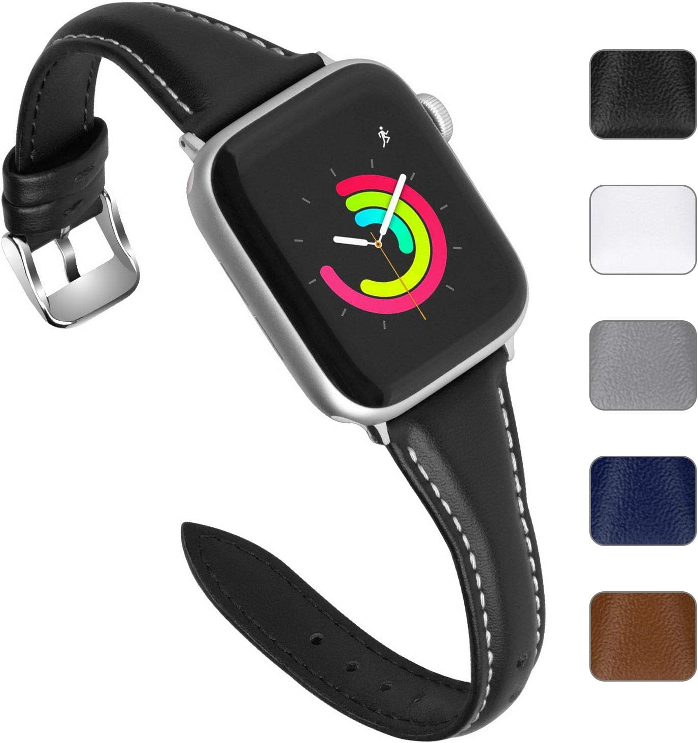 Fullmosa Leather Band Compatible Apple Watch 38mm/40mm/42mm/44mm, 5 Colors Sliim Strap for iWatch Band Series 5/4/3/2/1,Nike+, Edition, Sport