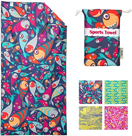 Microfiber Beach Towel Quick Dry Compact /& Lightweight for Swim Pool Camping