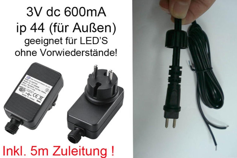 Steckernetzteil 3V DC 600mA IP44 (für Außen geeignet) inkl. 5m Zuleitung und Stecker. LED Netzteil