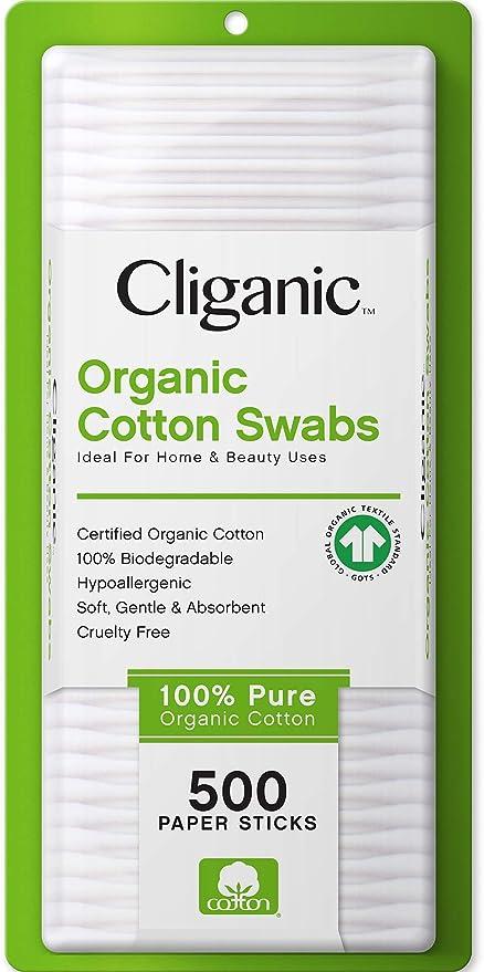 Hisopos de algodón orgánico Cliganic, 500 unidades – 100% puro ...