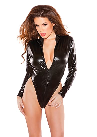 Allure Lingerie Women s Naughty Wet-Look Kitten Bodysuit, Black, One Size 74422bc11e3a