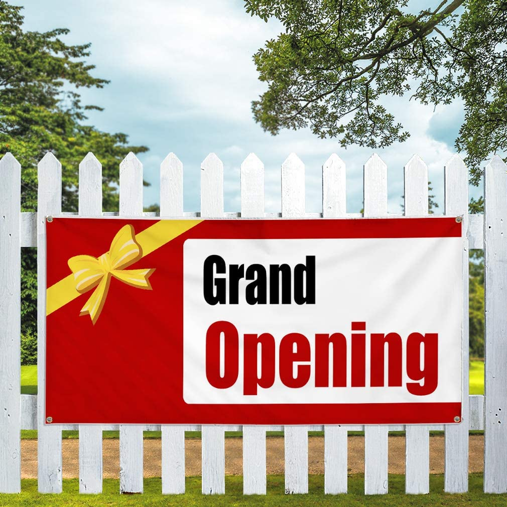 Vinyl Banner Multiple Sizes Grand Opening Store Advertisement Business Outdoor Weatherproof Industrial Yard Signs Red 6 Grommets 36x72Inches