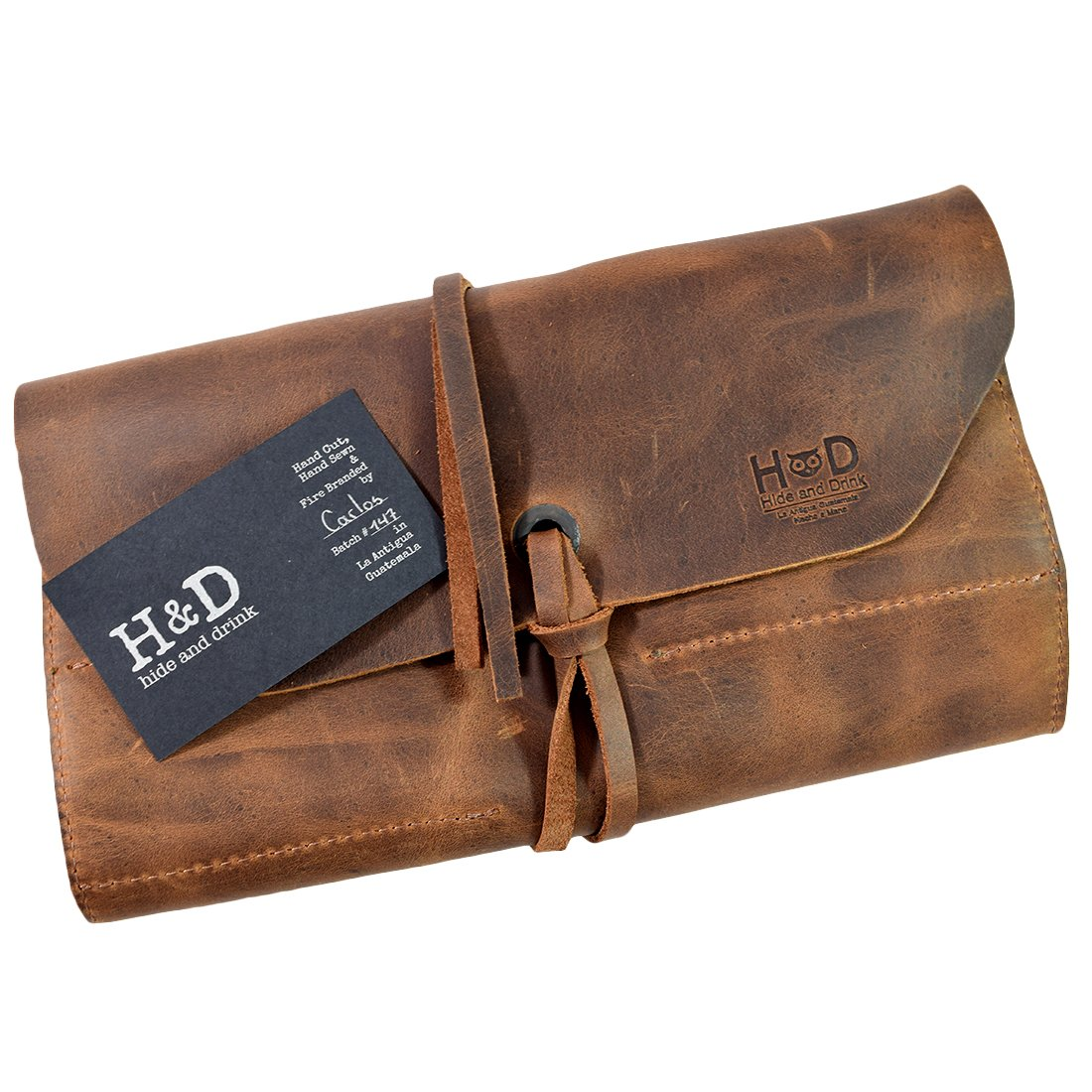 Rustic Leather Small Tool Roll Handmade by Hide & Drink :: Bourbon Brown by Hide & Drink (Image #7)