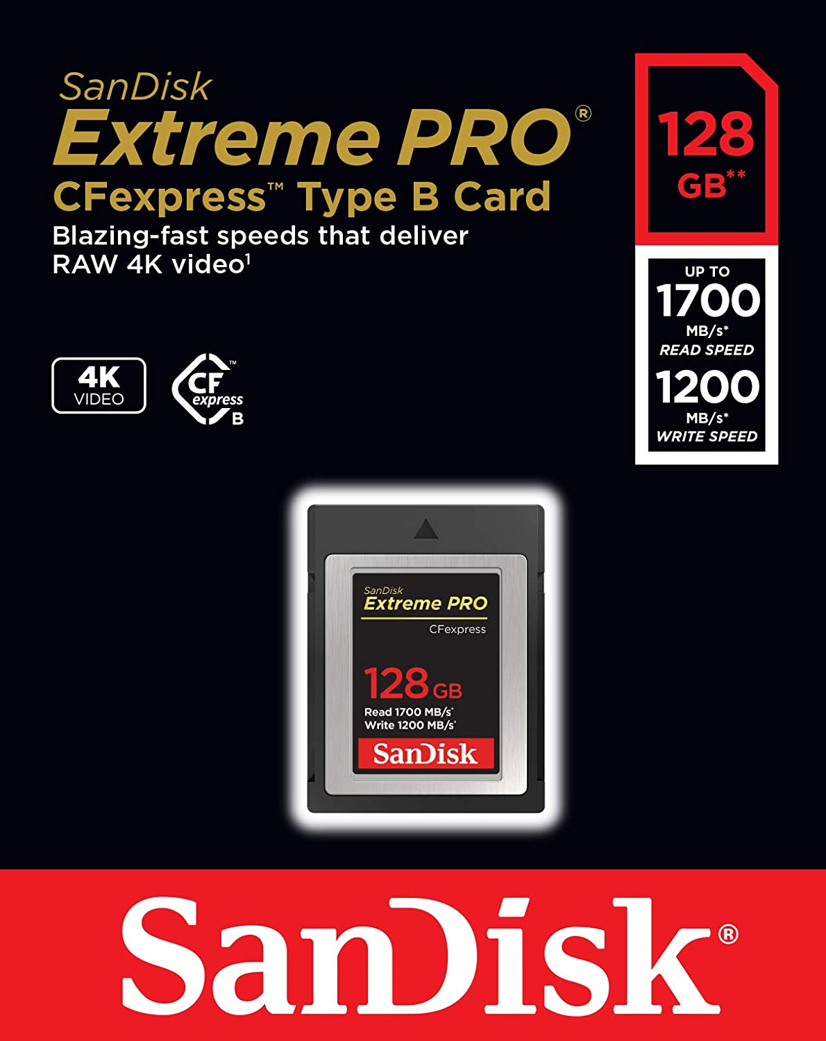 SanDisk 64GB Extreme PRO CFexpress Card Type B SDCFE-064G-GN4NN