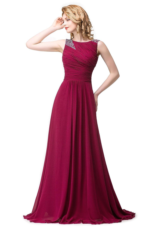 Babyonline® Damen Lang Ärmellos Chiffon Brautjungfernkleider Abendkleid Abschlussballkleider