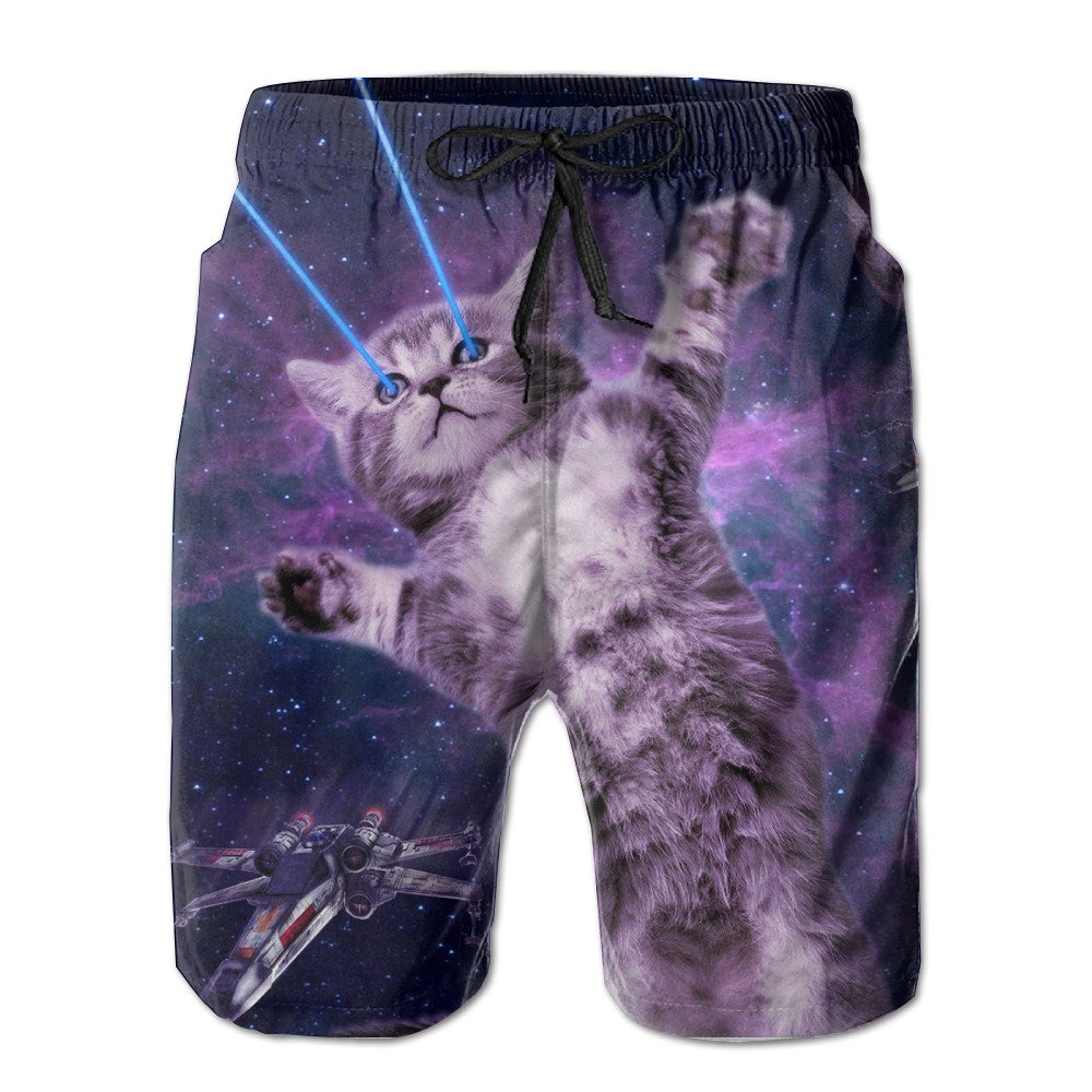 Men's Laser Cat Space Quick Dry Summer Boardshort Swimm Surf Trunk Beach Shorts Bomini