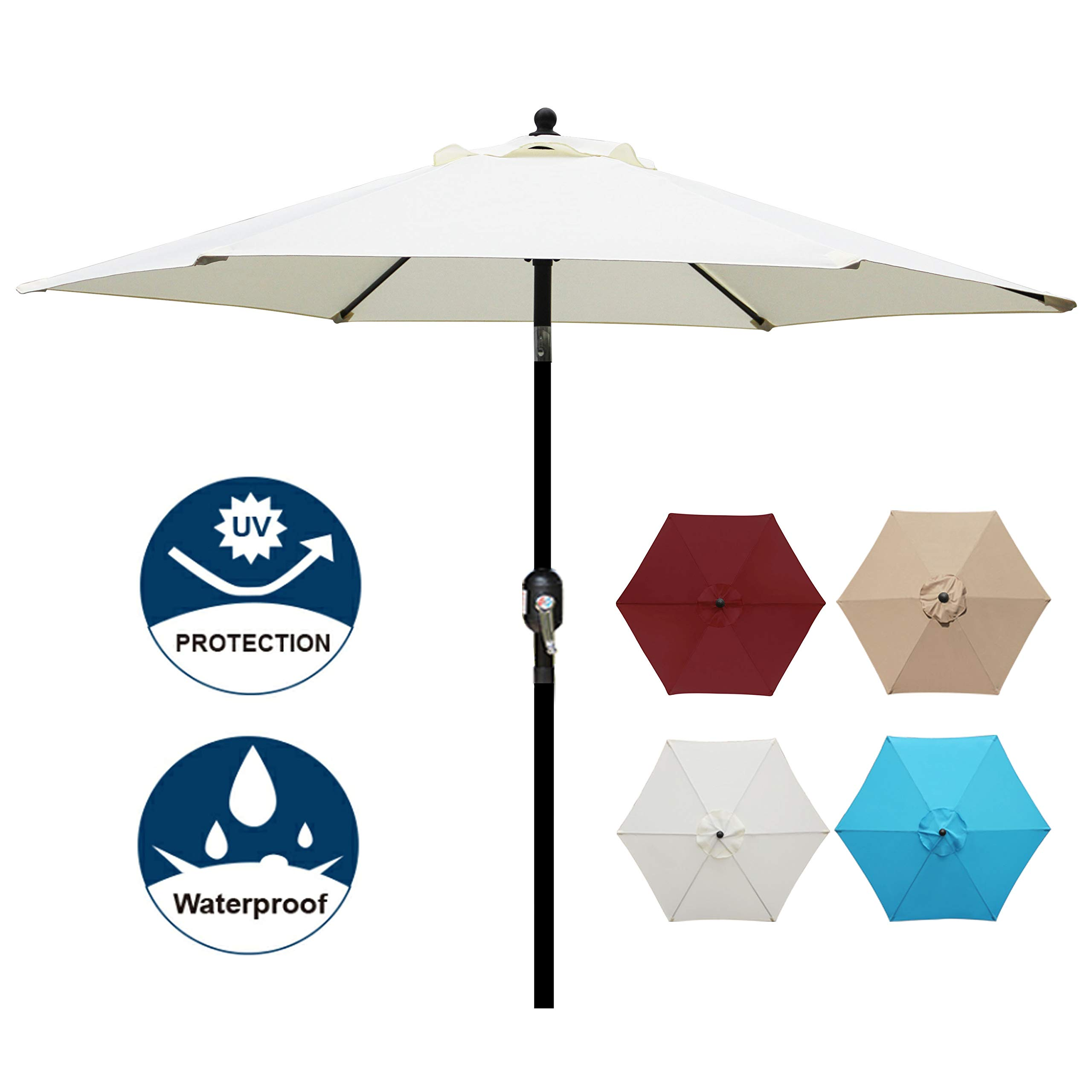 Blissun 7.5 ft Patio Umbrella, Yard Umbrella with Push Button Tilt and Crank (Beige) by Blissun