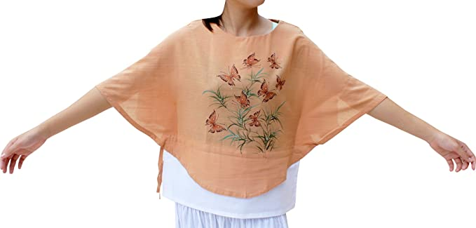 RaanPahMuang Light Cotton Shirt Hand Painted Butterfly Artwork Two Tone