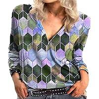 Every-go - Camisa con cremallera con cuello en V y estampado geométrico informal de cubo de para mujer, camiseta de…