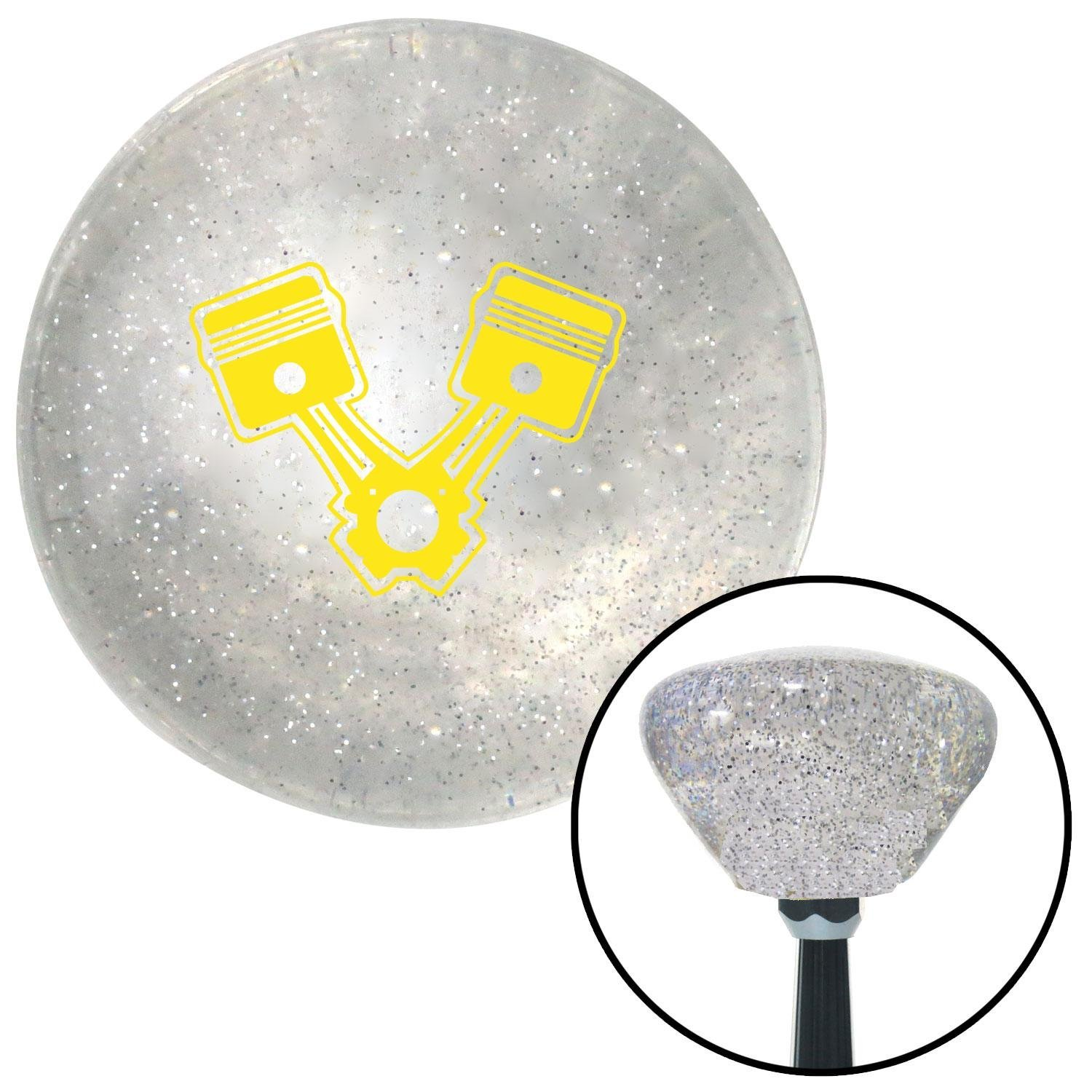 Yellow Pistons American Shifter 162492 Clear Retro Metal Flake Shift Knob with M16 x 1.5 Insert