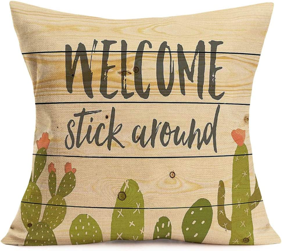 Asamour Cactus Quote Pillow Covers Cotton Linen Home Decor Pillowcases Rustic Wood Grain Background with Succulent Cactus Plant Decorative Throw Pillow Cushion Cover 18''x18'',Welcome Stick Around