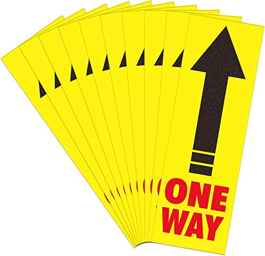 SICOHOME 10Pcs One Way Floor Decal 8.3 Directional Arrow Floor Sticker for Mall Store Office Grocery