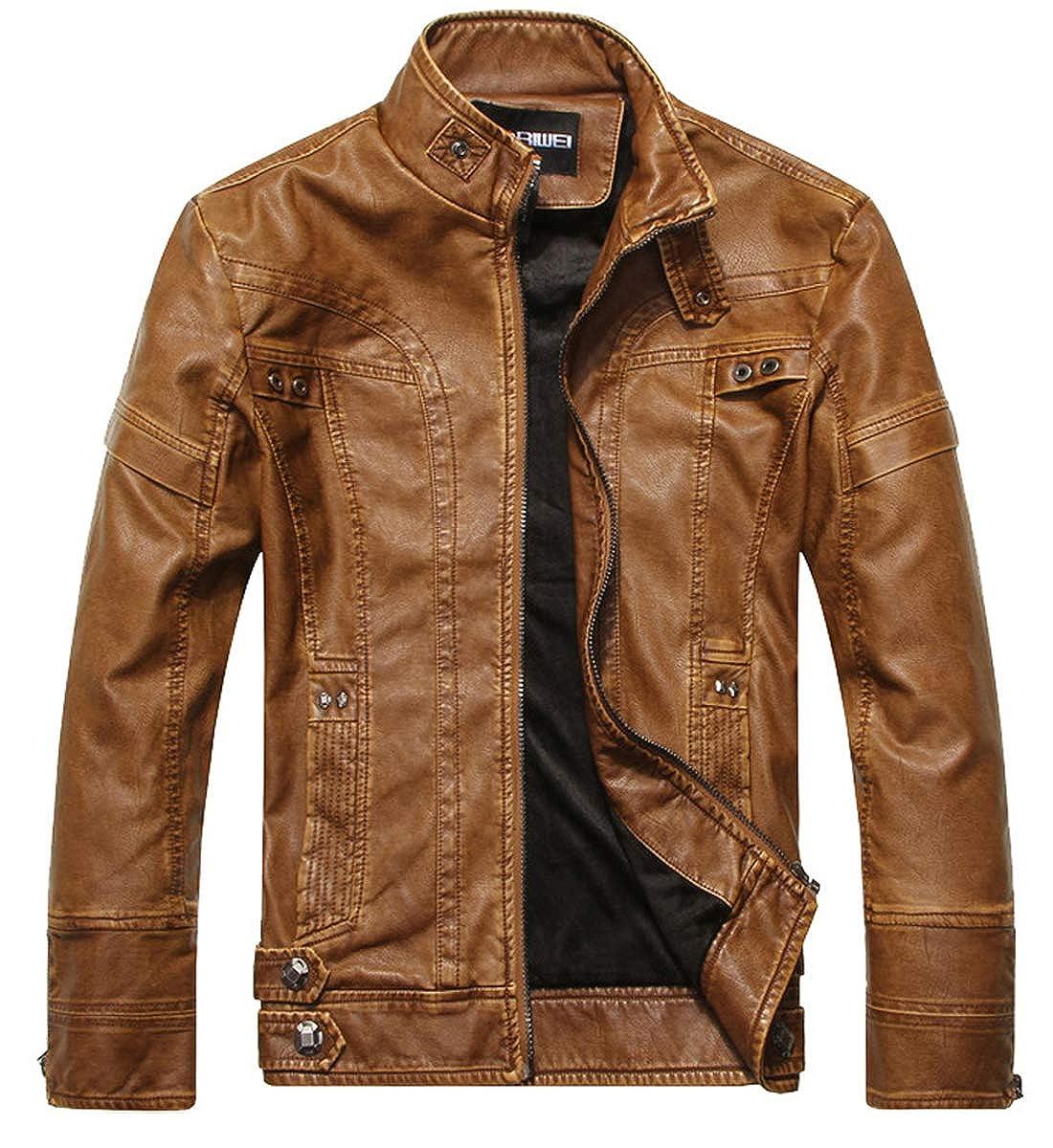 WULFUL Men's Vintage Stand Collar Leather Jacket Motorcycle PU Faux Leather Jacket Fleece Lined Winter Outwear