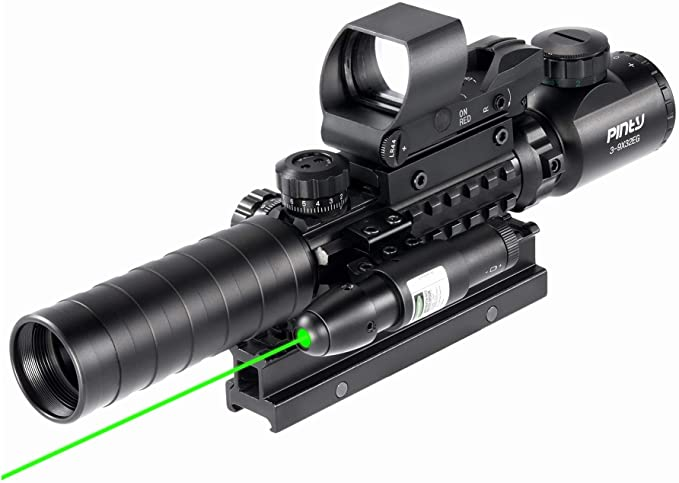 Tactical Hunting Rifle Red Green Laser Sight Dot Scope Light Gun w// Mount 16340