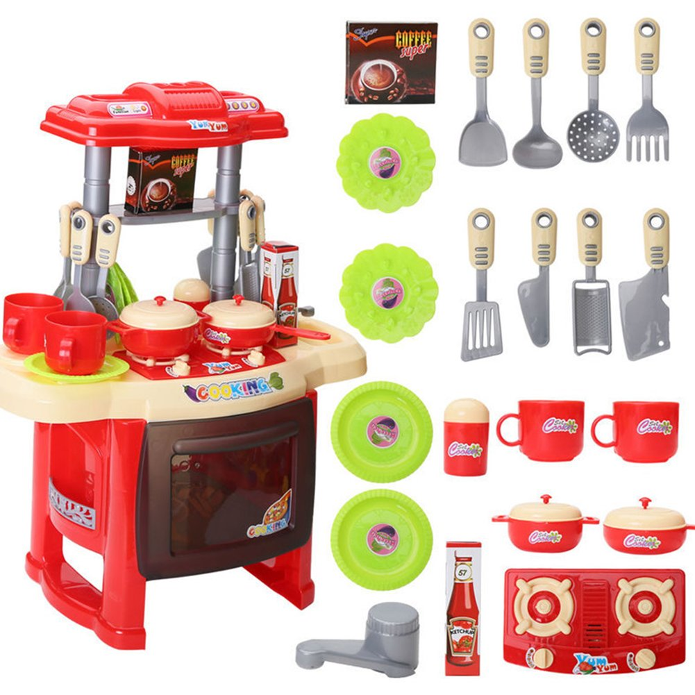 NJYHI Kids Girls Cooking Kitchen Role Pretend Chef Play Set Great Gift Toy red