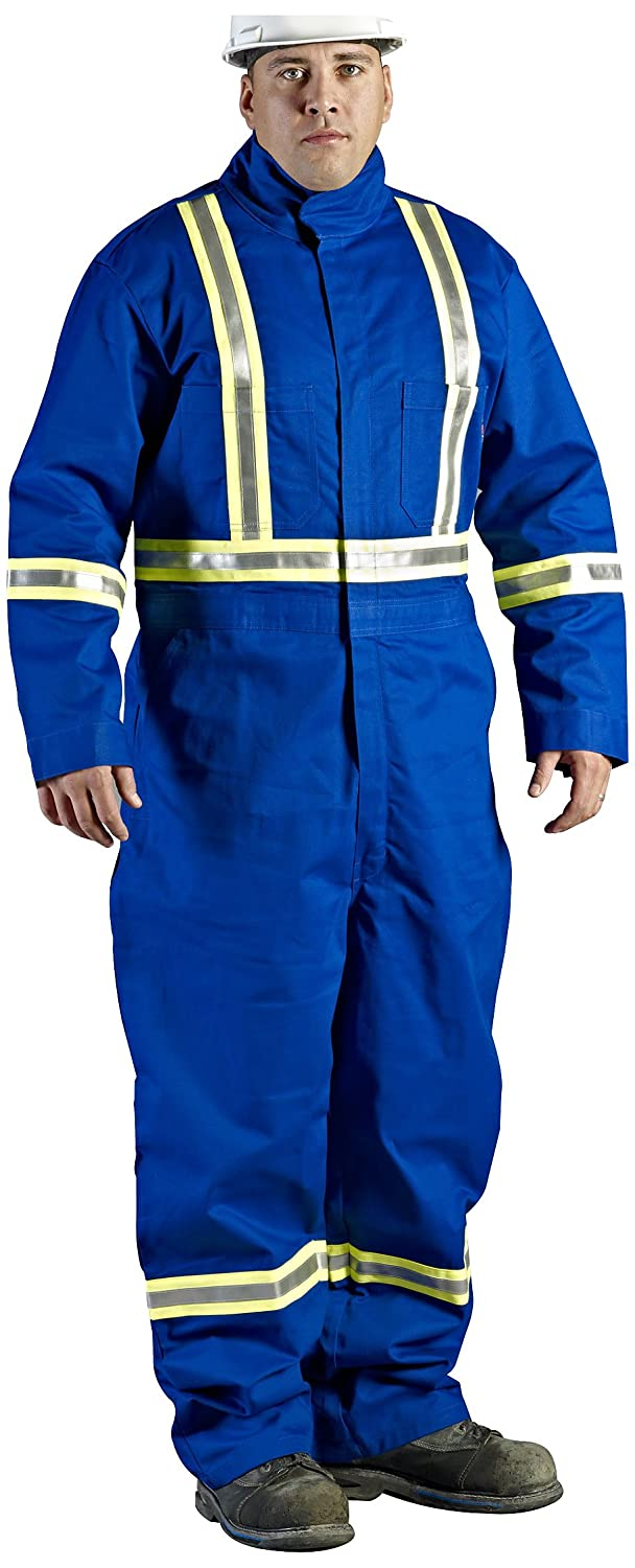 Walls Royal Blue 7-Ounce FR 88/12 Striped Coverall, HRC 2, ATPV, 9.6 cal/cm2, CGSB 155.20, CSA Z462, NFPA 2112, NFPA 70E and ASTM F1506 50L Walls FR C62047RL9 50L