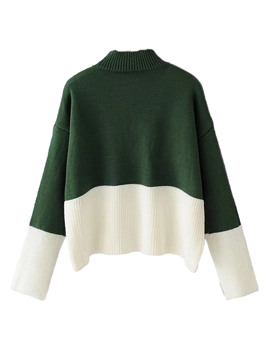 0756c9536e ROWME Women s Color Block Two Tone Ribbed Drop Shoulder Long Sleeve Knit  Pullover Sweater at Amazon Women s Clothing store