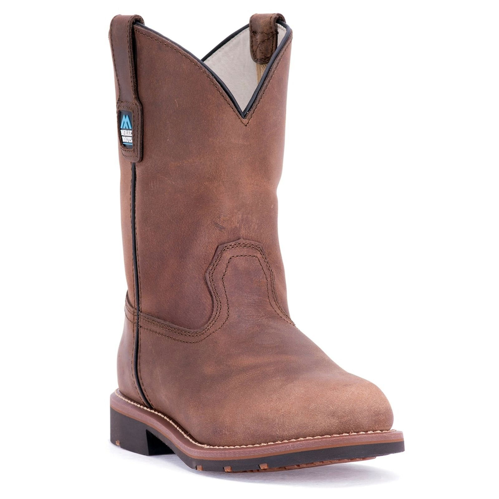 McRae Industrial Men's 11'' Pull On Work Boot Round Soft Toe Brown 9.5 EE