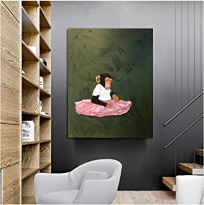Canvas Art Poster PIPAO Pink Dress Monkey Animal Canvas Poster and Print Wall Picture Living Room Print Art Painting Home Decor 23.6x31.5in(60x80cm) x1pcs NoFrame