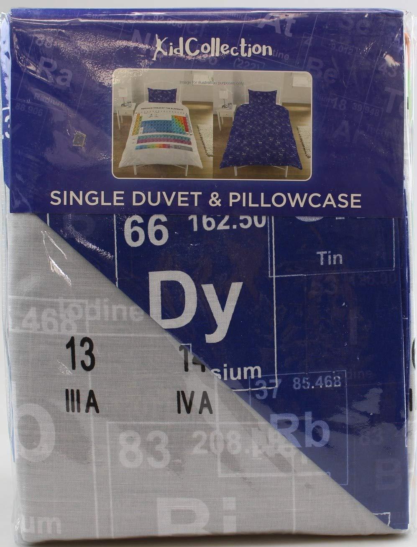 Single Duvet Cover 50/% algod/ón//50/% poli/éster Juego de funda de edred/ón reversible individual o doble con los elementos de la tabla peri/ódica