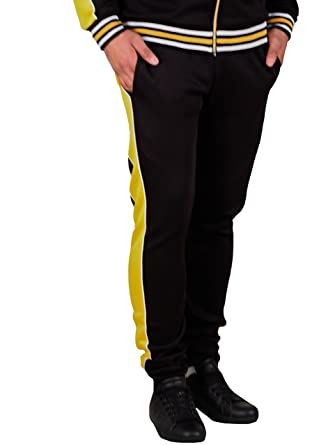 Trillnation Slim Fit Track Pants Black Yellow At Amazon Men S