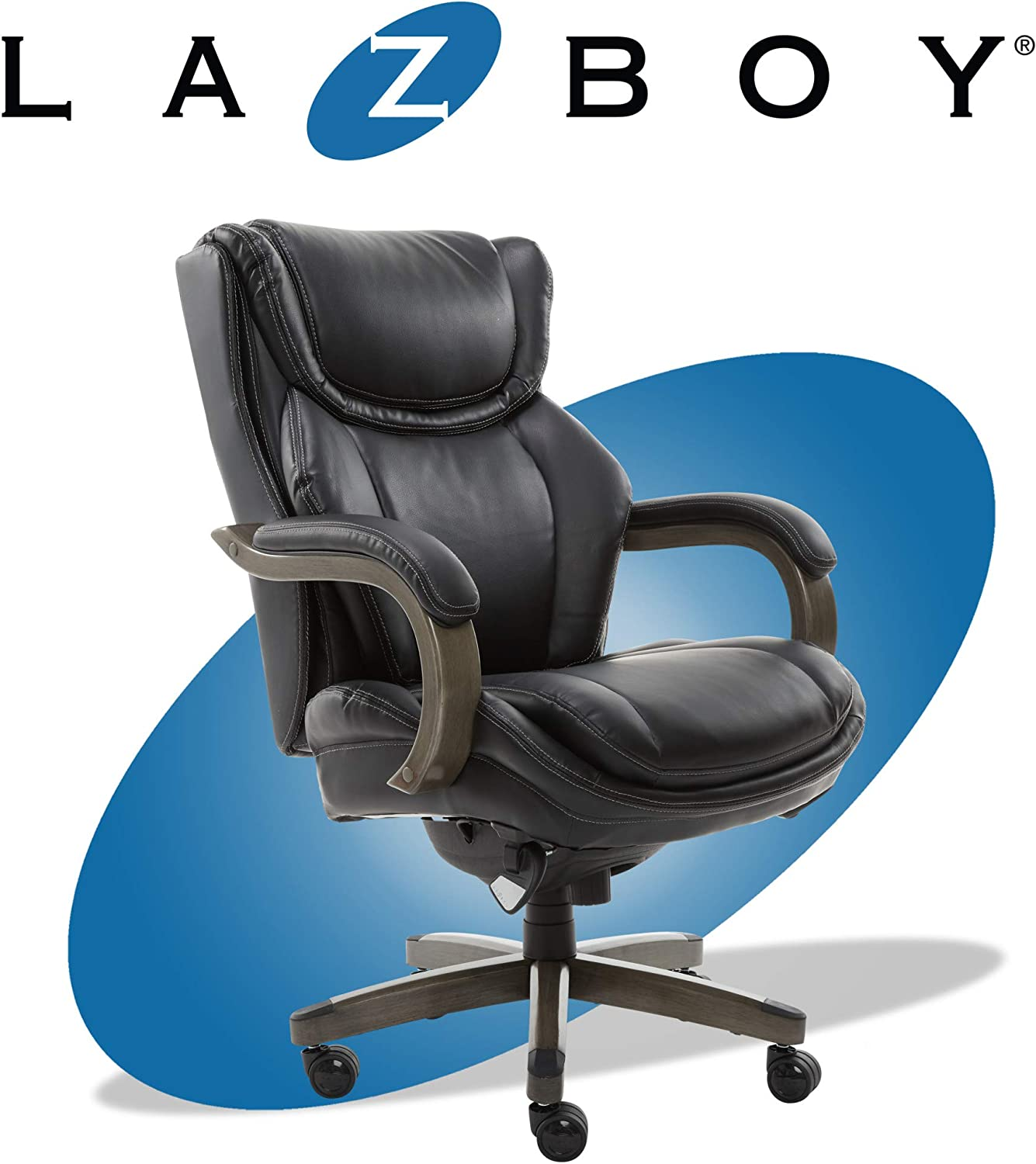 LaZBoy Big & Tall Executive Office Comfort Core Cushions, Ergonomic  High-Back Chair with Solid Wood Arms, Bonded Leather, Black