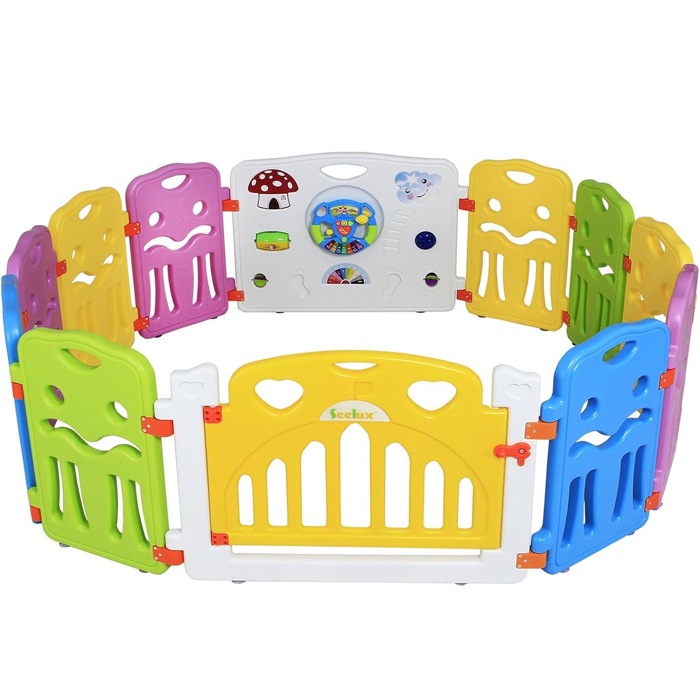 Seelux Kinder Laufstall Laufgitter aus Kunststoff mit Tür und Spielzeugboard (6+2)