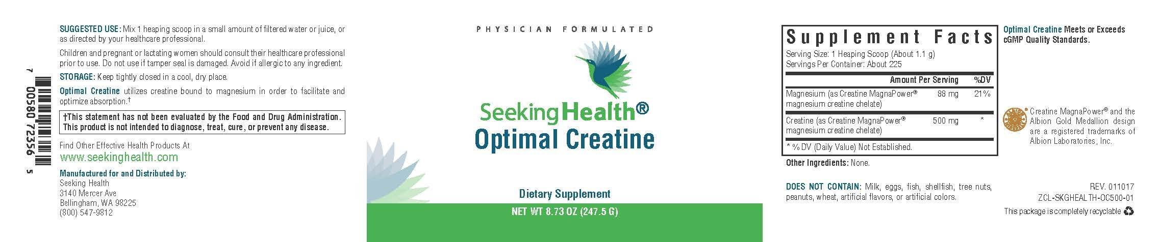 Optimal Creatine | Functional Food Powder | Provides Creatine Bound to Magnesium for Optimal Absorption | 247.5 Grams | 225 Servings Per Container | Seeking Health