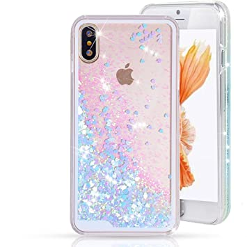 the latest 537a4 64b7a Jewby iPhone X Case, Blue Falling Glitter Liquid Case, Sparkling Heart  Glitter Case for iphone X with a...