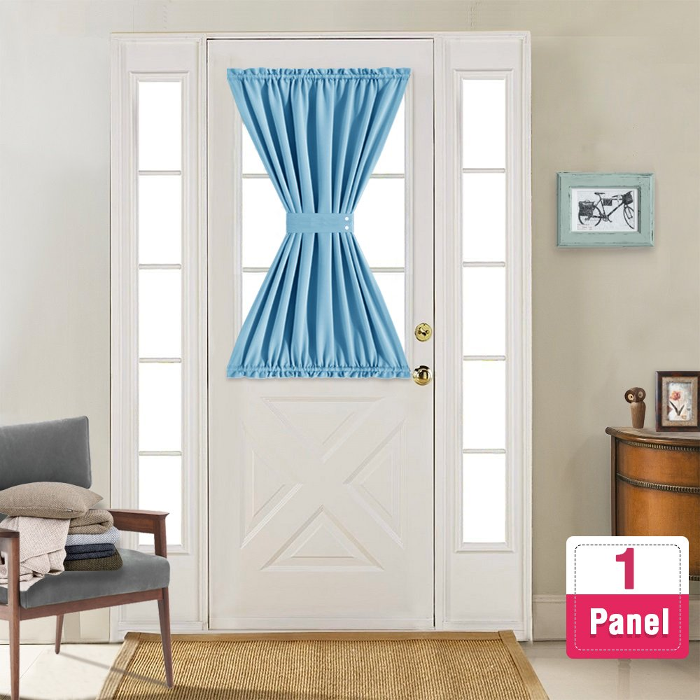 Blackout French Door Curtains 40 inch Length Room Darkening Thermal Insulated French Door Panel Curtains with Bonus Tieback, Sold Individually, Royal Blue