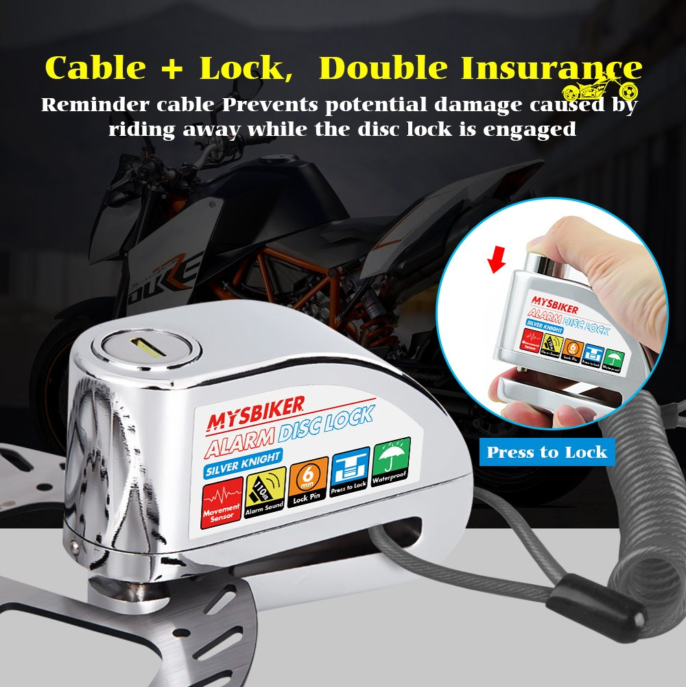 improved Version FD-MOTO LK303 Heavy Duty Silver Zinc Alloy Free Reminder Cable 1.5M Motorbike Alarm Disc Lock Motorcycle Bike Bicycle 110DB 7mm pin