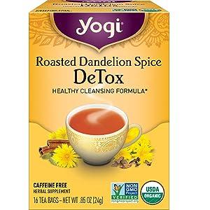 Yogi Tea - Roasted Dandelion Spice DeTox (4 Pack) - Healthy Cleansing Formula - 64 Tea Bags