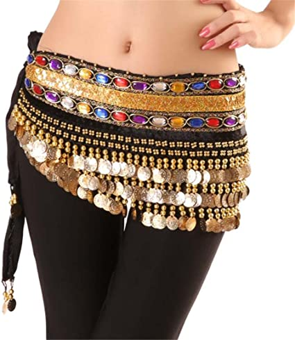 Womens Belly Dance Costume Hip Scarf Skirt Sequins Tassel Gold Coin Dancing Wrap