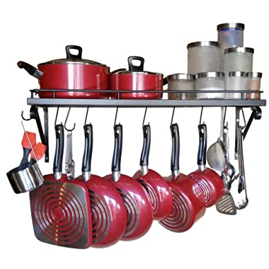 30  Wall mounted pots and pans rack. Pot holders wall shelves with 10 hooks. Kitchen shelves wall mounted with wall hooks. Kitchen storage pot holder pot rack. Pot pan organizer. Pot Pan rack.