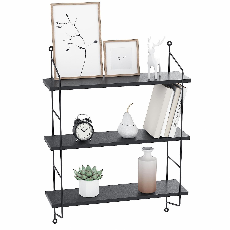 Floating Shelf Wall Mounted Book Shelves 3 Tier Wood Storage Heavy Duty Rack Unit