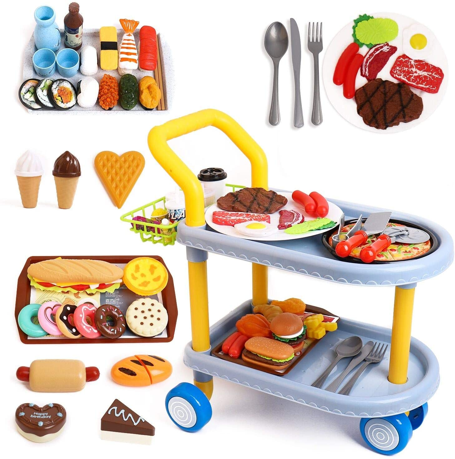 Kids Food cart Toy Sets,Kids Role Play Large Dining car Toys and 98pcs Food, Kitchen, Tableware Accessories., Educational Toys for 3+ Years Boys/Gir