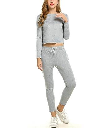 cooshional Femme Automne Tops à Manches Longues Pantalons Survêtements  Ensembles Sportswear Sports Jogging 43f680032b2