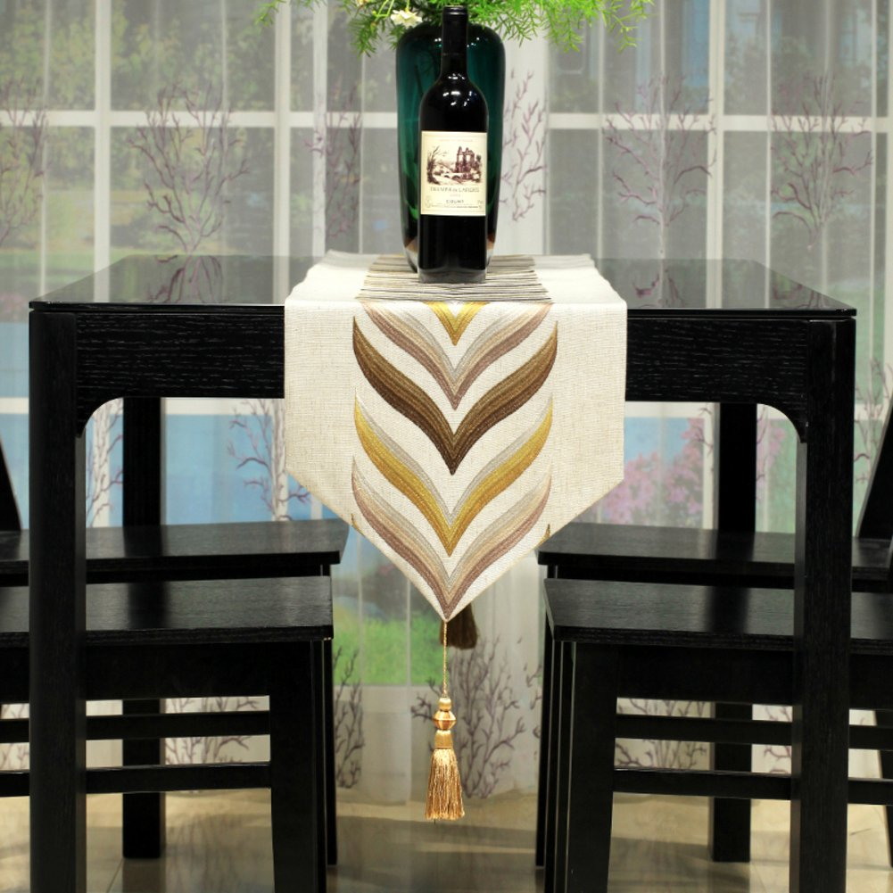 The Hotel Restaurant Table Runner Dining Room Ling Room Table Decoration Cloth Tassel-A 32x260cm(13x102inch)