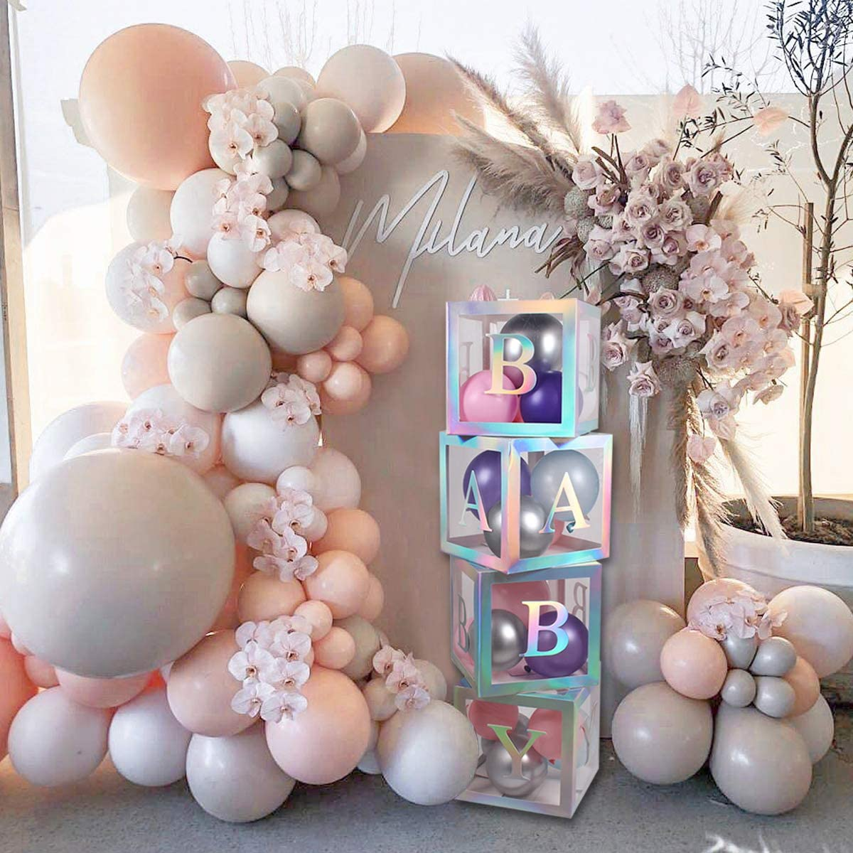 Amazon Com Baby Shower Boxes Party Decorations 4 Pcs Rainbow Sliver Transparent Balloons Boxes Decor With Rainbow Silver Letter Individual Baby Blocks Design For Boys Girls Baby Shower Bridal Birthday Party Kitchen