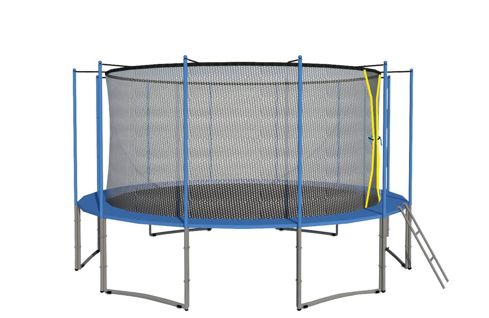 ExacMe 16' Ft 6W Legs Trampoline w/ Safety Pad and Enclosure Net and Ladder All-in-one Combo Set C16
